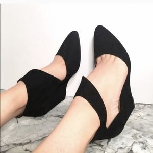 Pied Juste Cut Out Wedge Shoes Black Suede 8.5